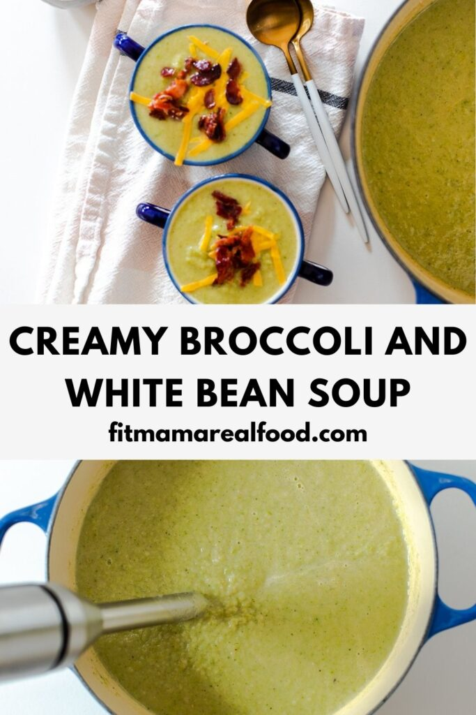 creamy broccoli and white bean soup with crispy bacon bits
