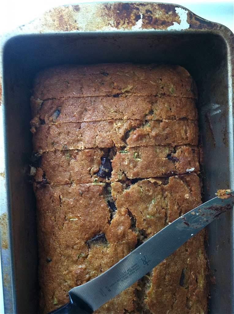 Chocolate Chip Coconut Zucchini Bread and more recipes for healthy chocolate zucchini bread on MyNaturalFamily.com #zucchini #chocolate #bread #recipe