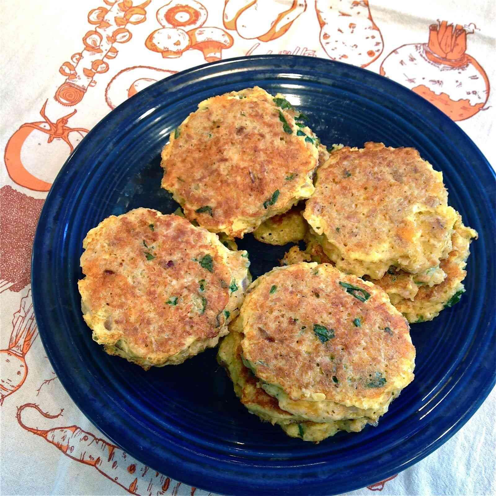 savory tuna & cheddar quinoa patties