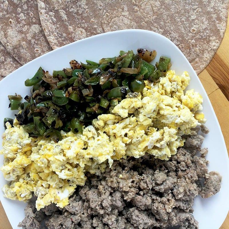 freezer ready sausage, egg and veggie breakfast burritos