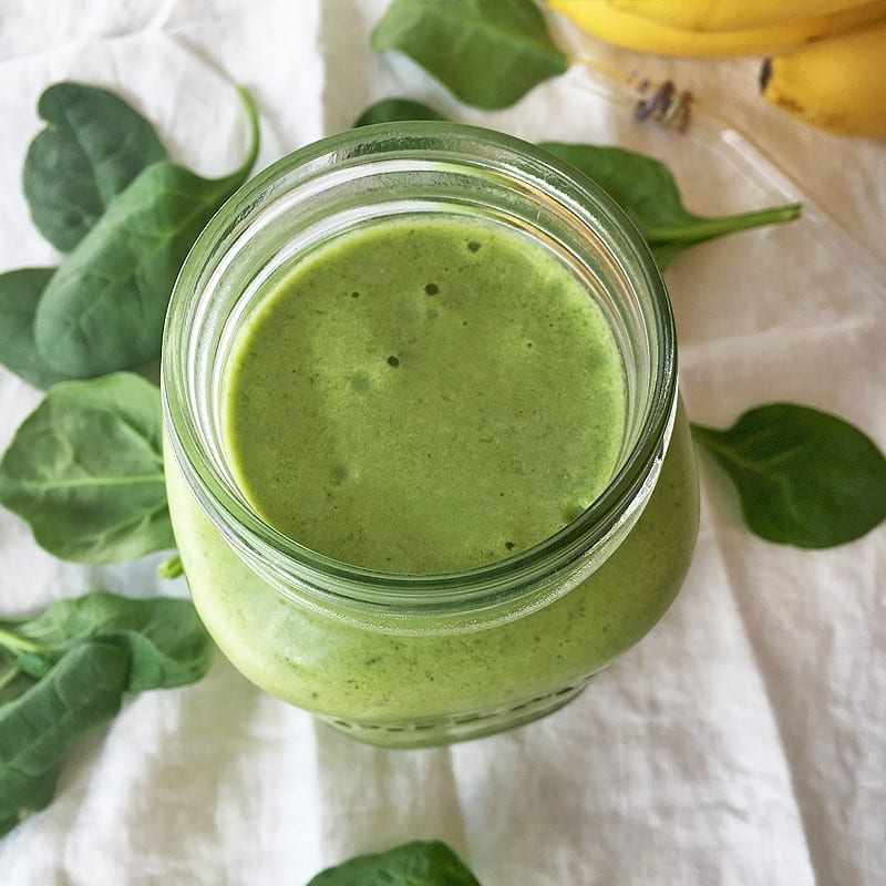 Go-to green smoothie: peanut butter banana spinach smoothie