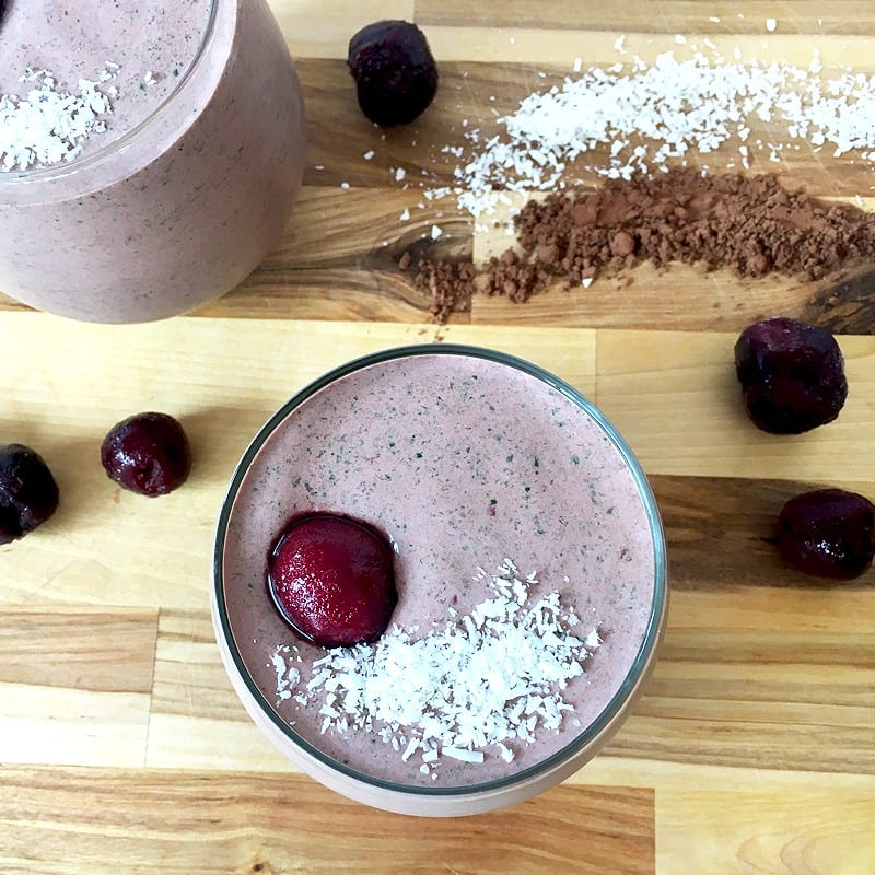 chocolate cherry spinach smoothie