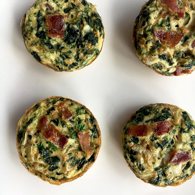 lightened up spinach, artichoke and bacon egg muffins