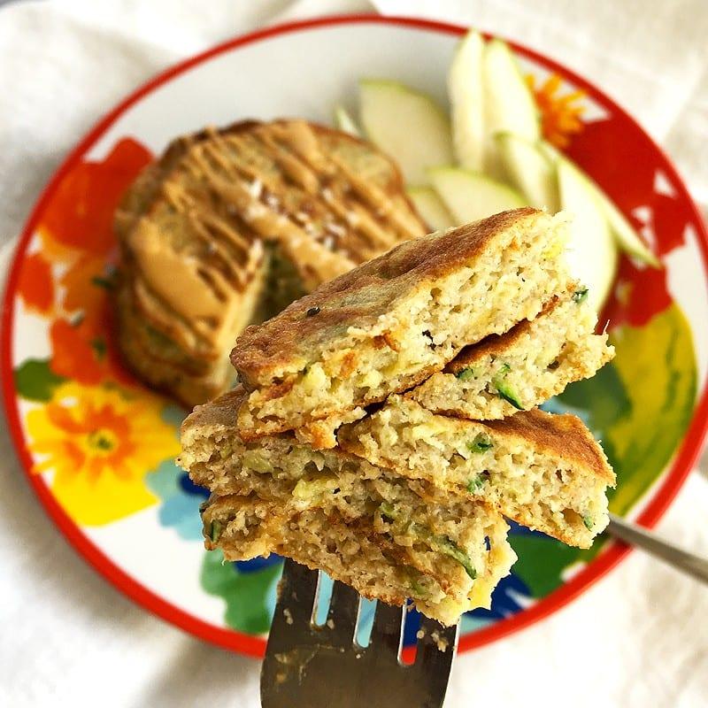 banana zucchini buckwheat pancakes