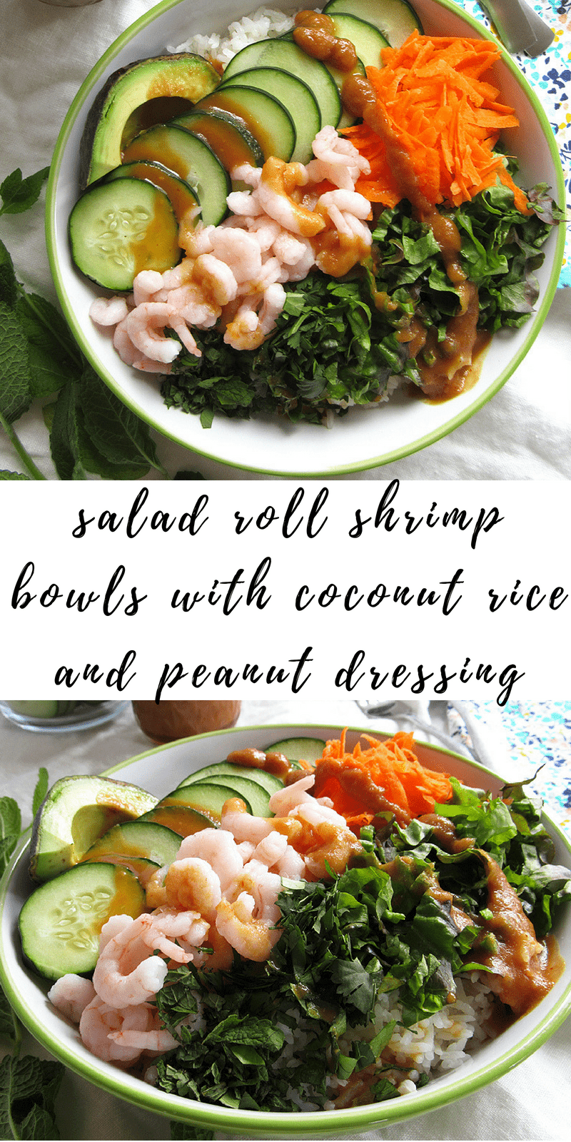 salad roll shrimp bowls with coconut rice and peanut dressing