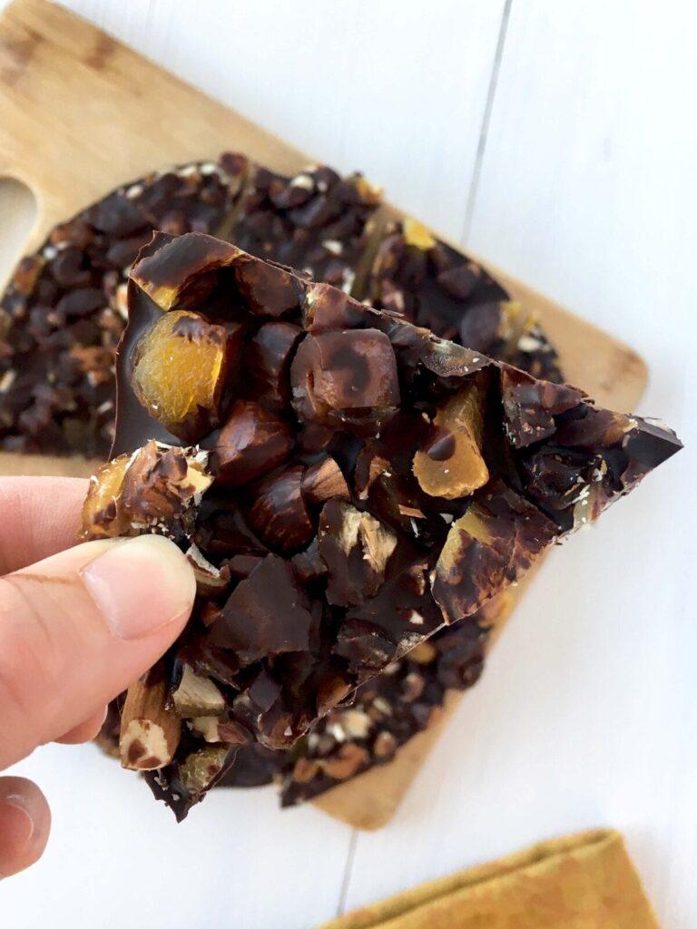 dark chocolate trail mix bark (naturally sweet!)