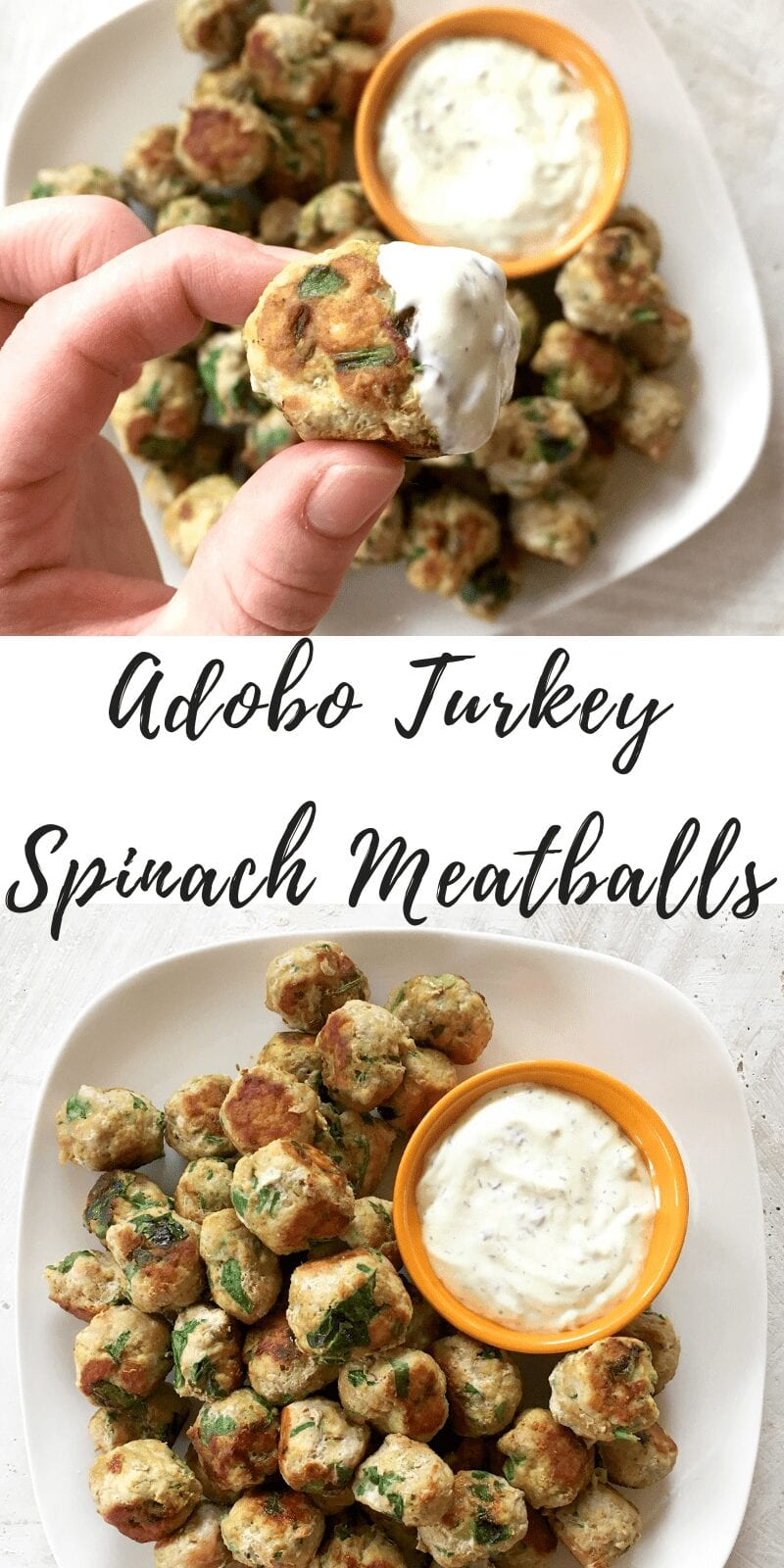 adobo turkey spinach meatballs