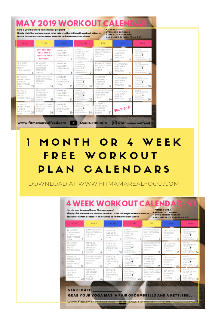 1 month home workout plan or 4 week home workout plan
