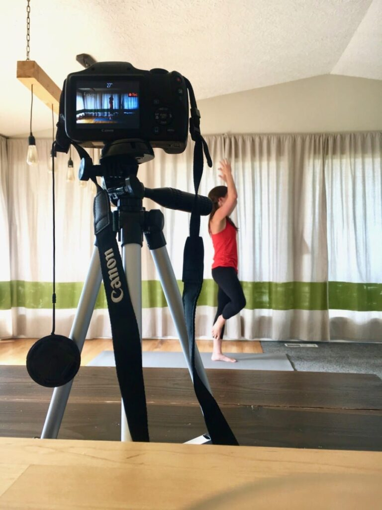 Behind the scenes of filming a yoga workout video