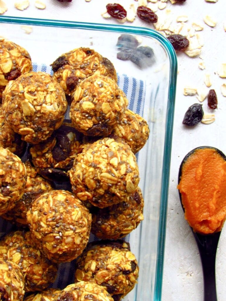 Pumpkin Raisin Chia  Oatmeal Energy Balls
