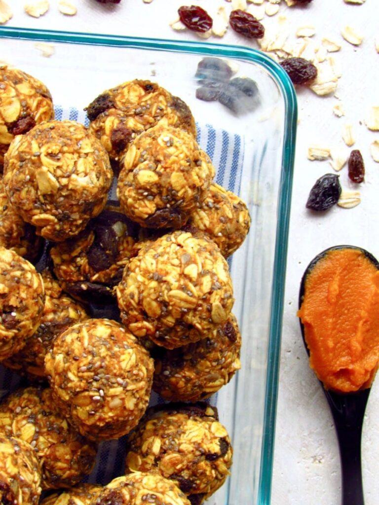 Pumpkin RaisinChia Oatmeal Energy Balls