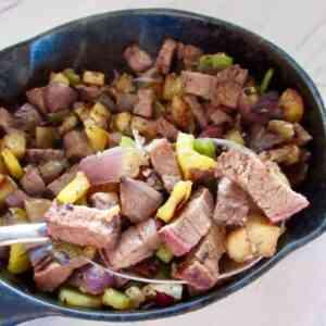 how to make steak tips, veggie and potato hash