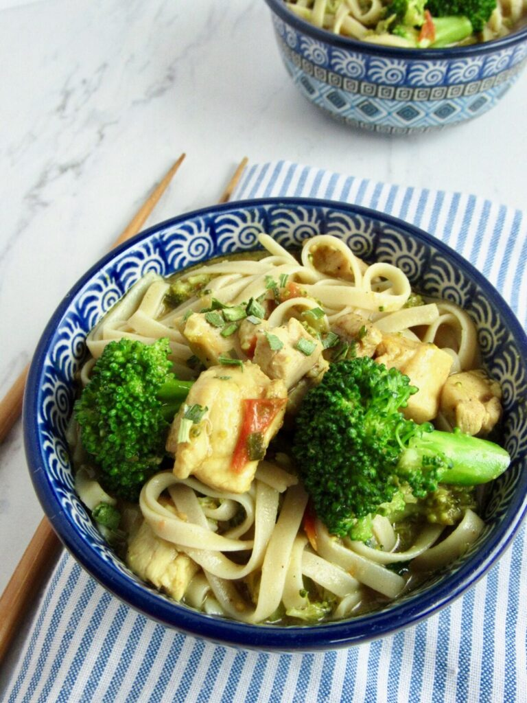 Coconut curry chicken with udon noodles and broccoli