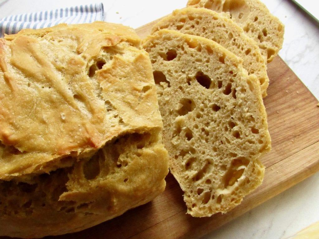 crusty no knead einkorn bread made in the dutch oven