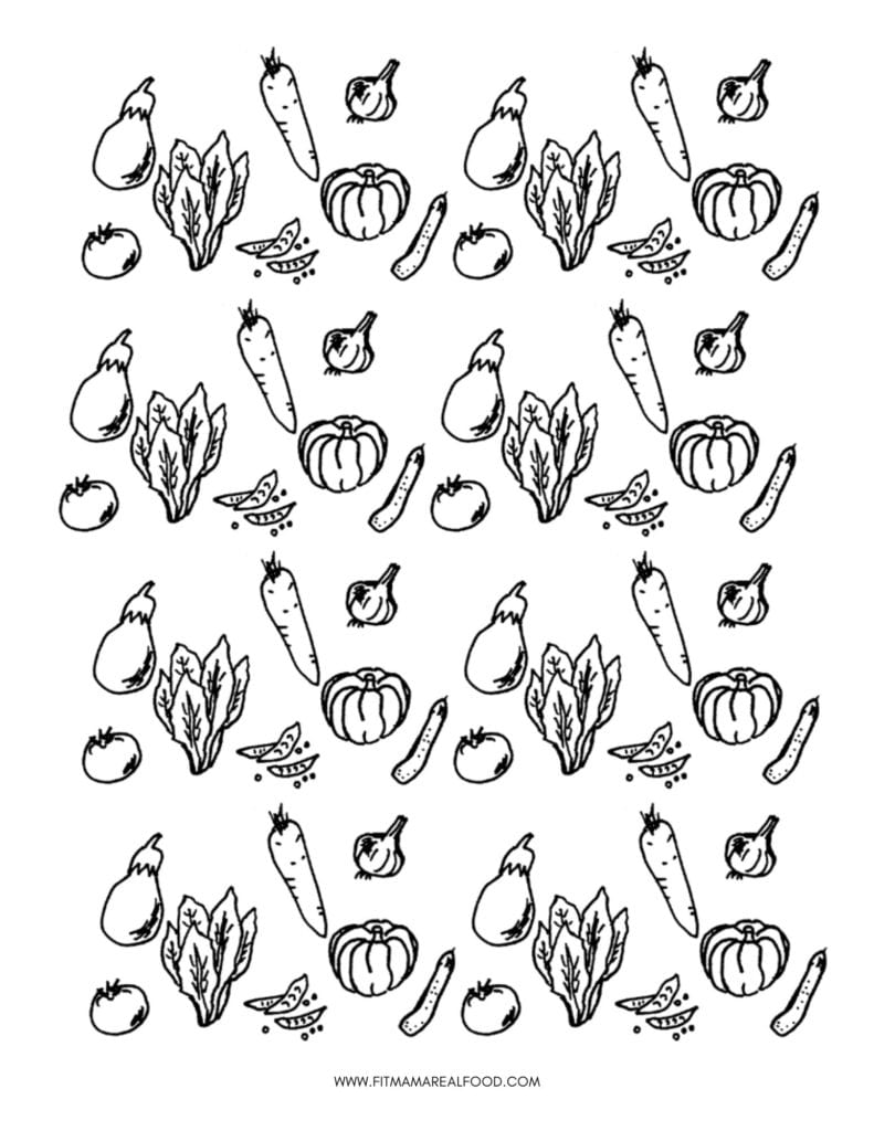 Colorful cooking for kids fruit and vegetable coloring page