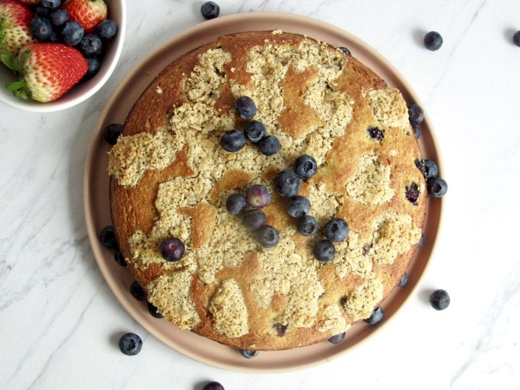 Gluten Free Blueberry Vanilla Crumb Cake