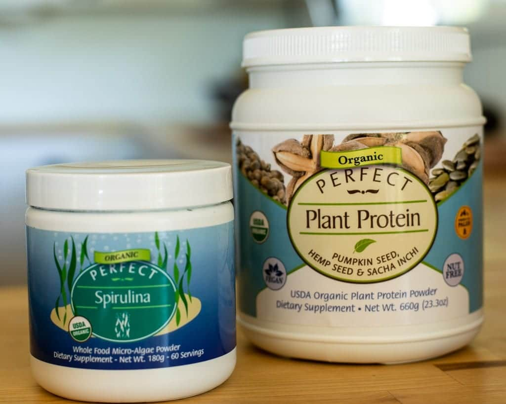spirulina and perfect plant protein powder