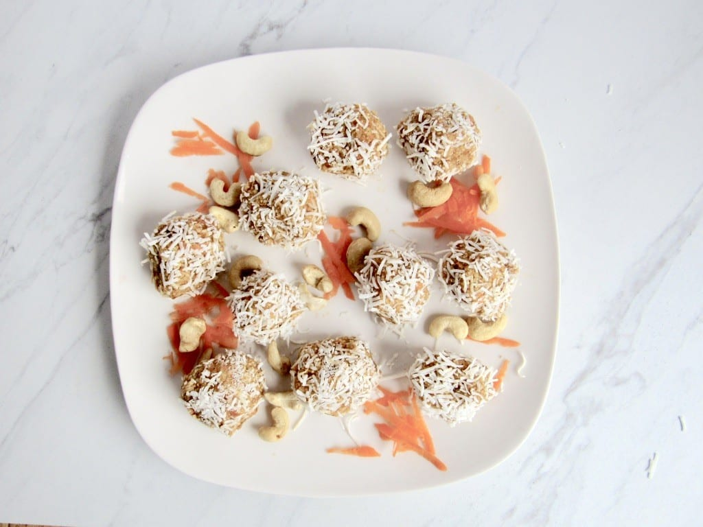 naturally sweet carrot cake energy balls