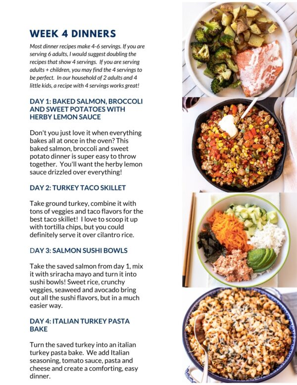 September 2020 Fit Mama Meal Plan