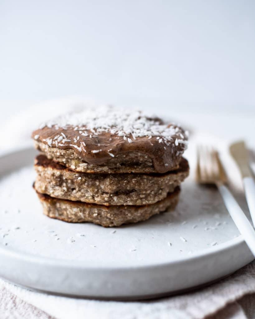 Coconut Banana Buckwheat Pancakes