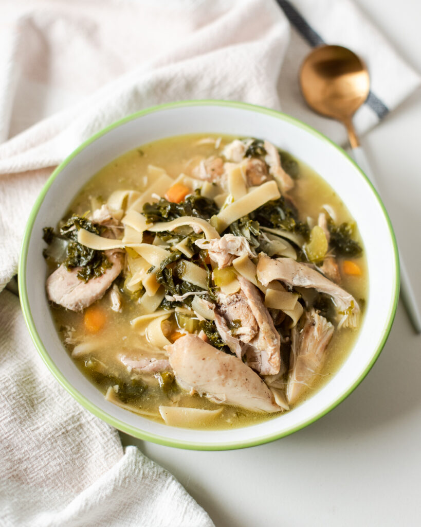 Crockpot Chicken Noodle and Kale Soup