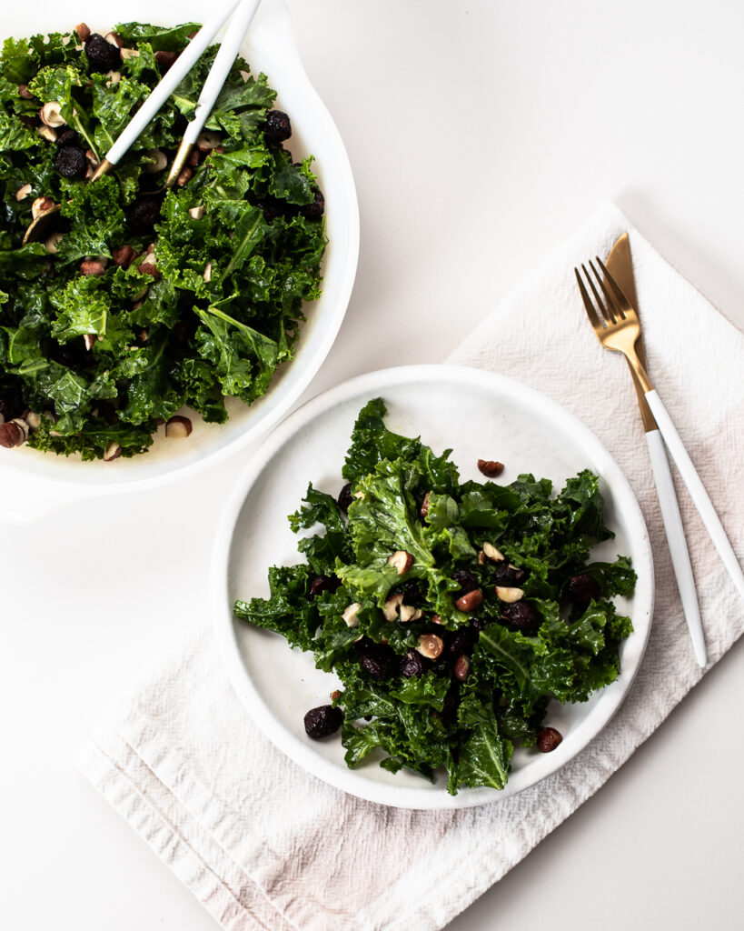 Cranberry Hazelnut Kale Salad with Turmeric Vinaigrette