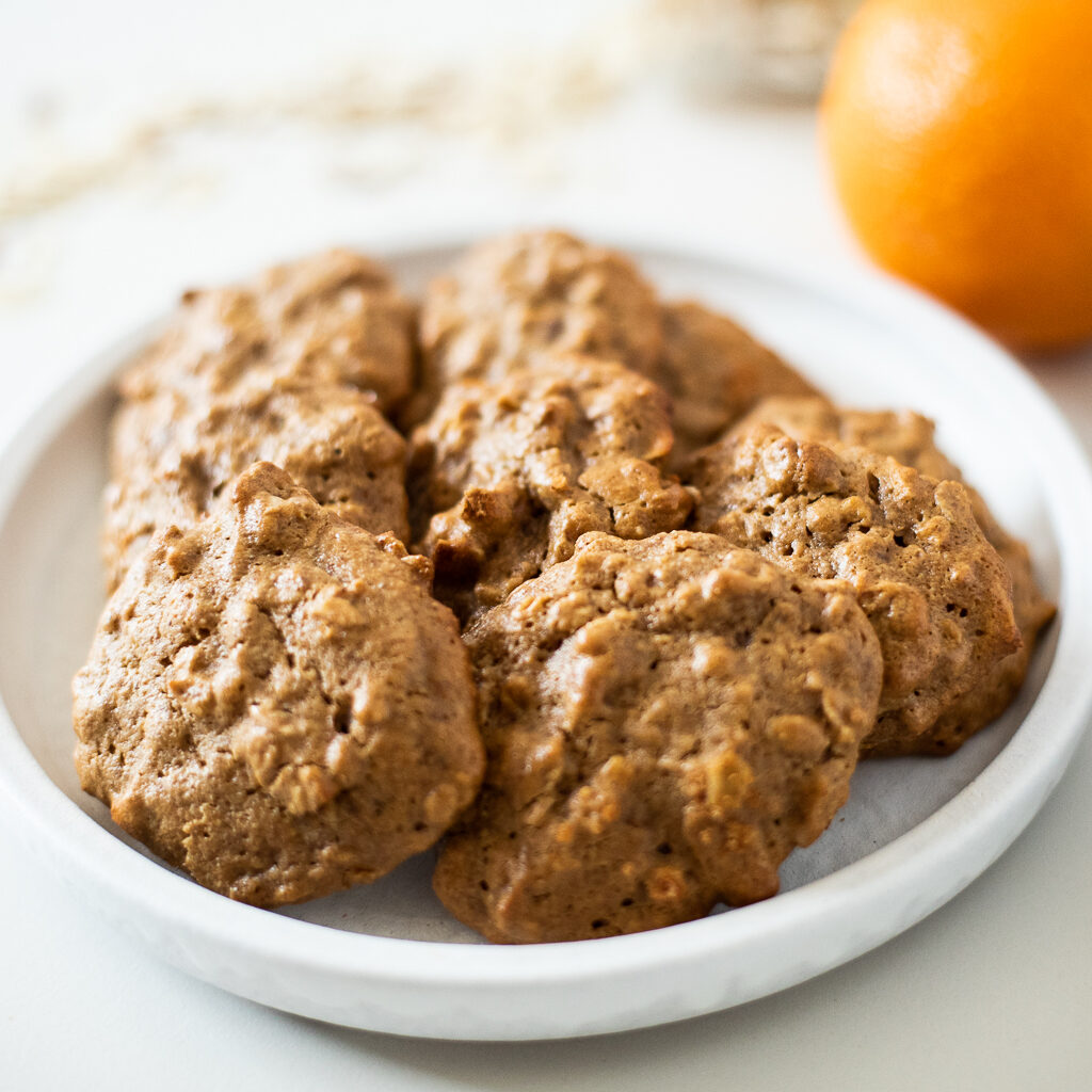 Chewy Orange Almond Butter Oat Cookies