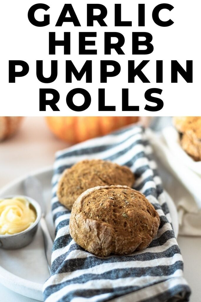whole wheat garlic herb pumpkin rolls