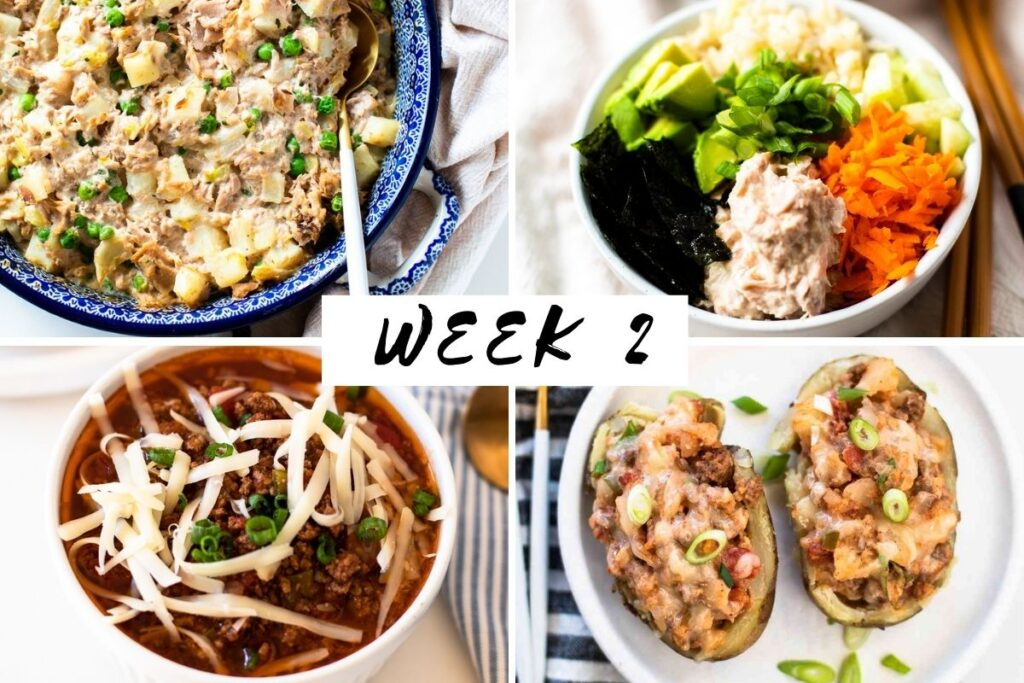 January 2021 week 2 meal plan