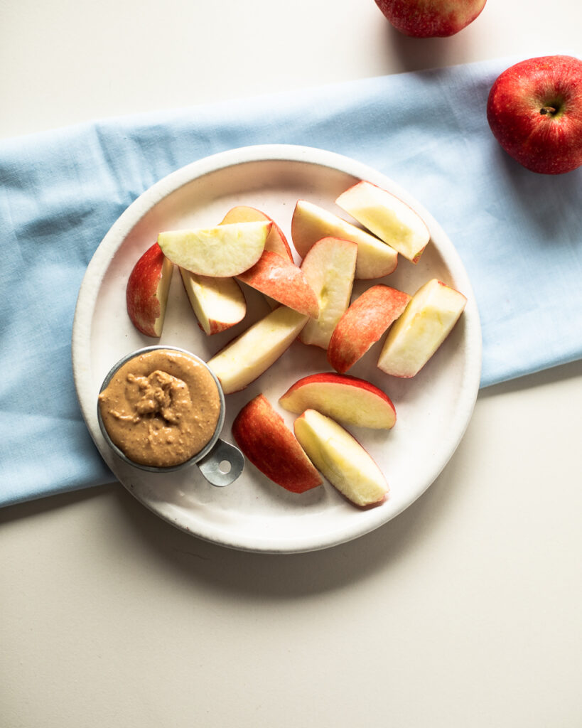 homemade peanut butter with apple slices