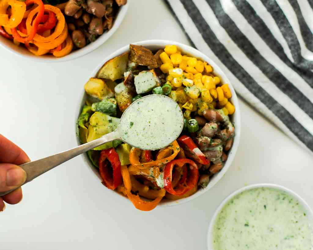 mexican buddha bowls with cilantro lime dressing