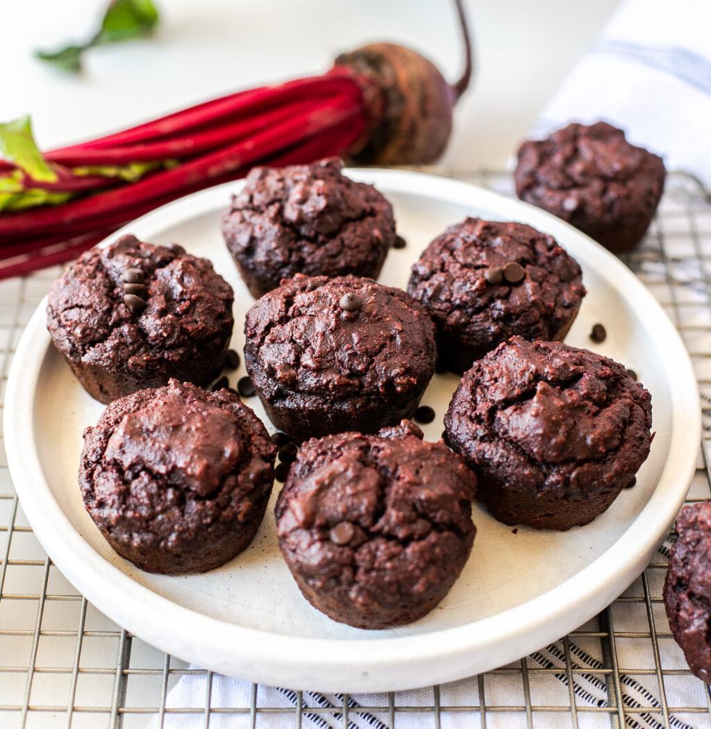 triple chocolate beet muffins