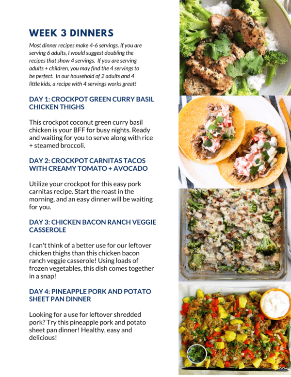 May 2021 Meal Plan