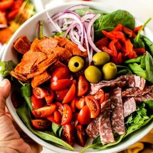 Antipasto Salad with Dairy Free Creamy Italian Dressing