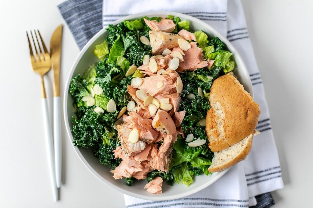 salmon kale Caesar salad