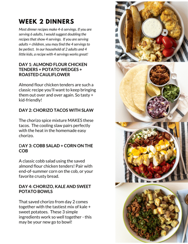 September Week 2 Meal Plan