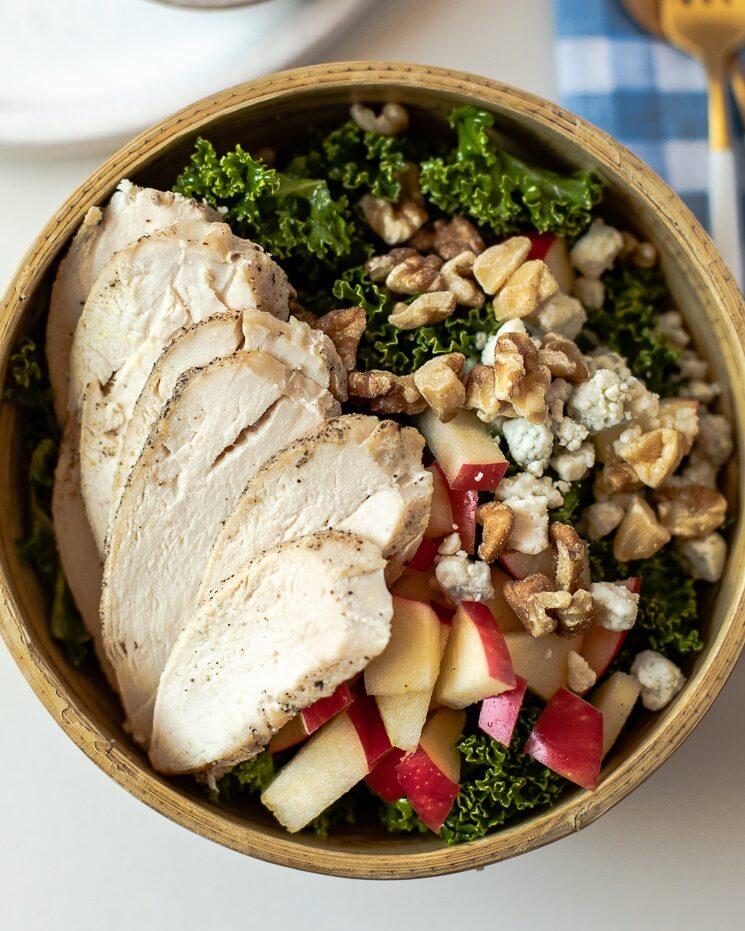 Harvest chicken kale salad